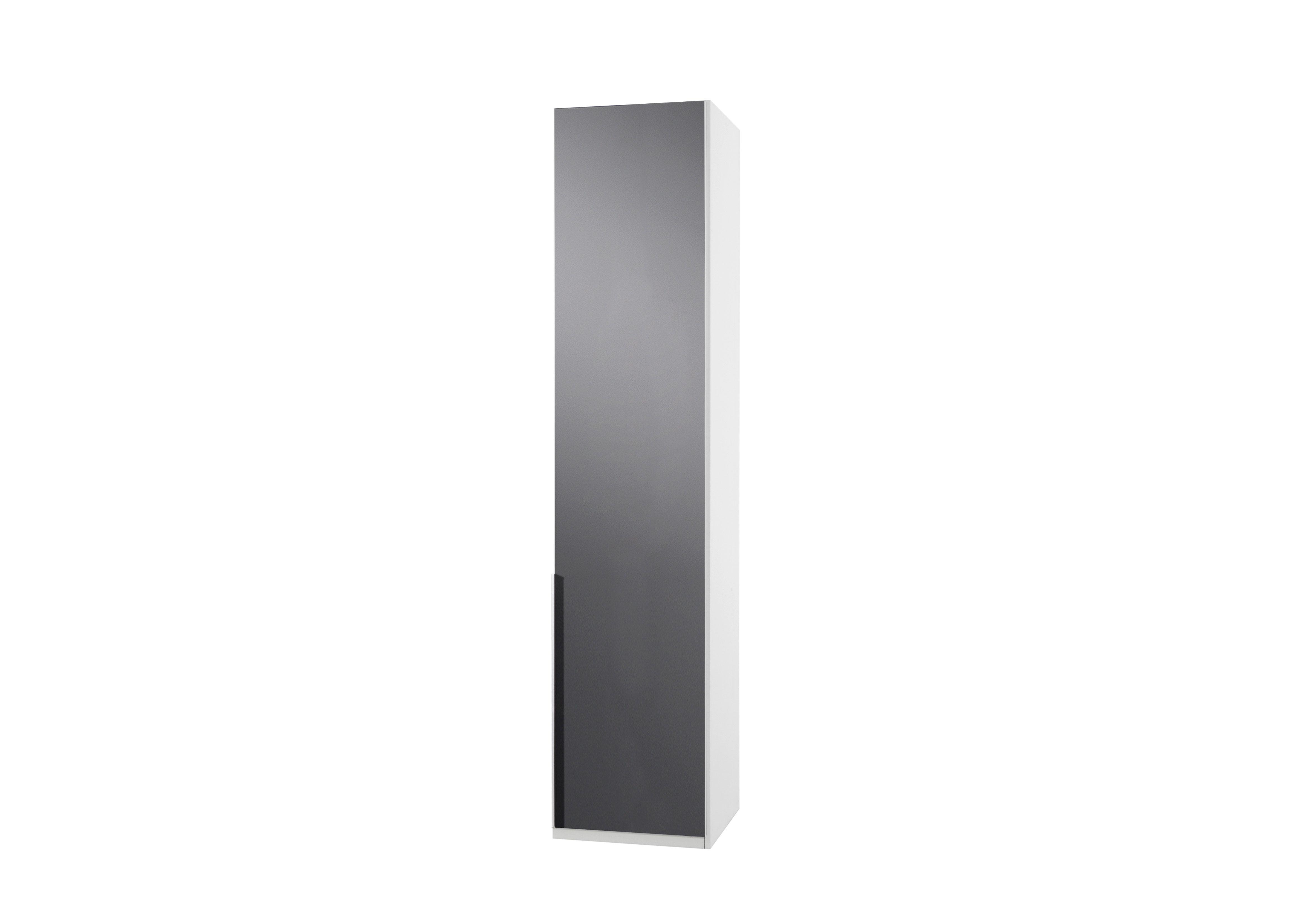 Amoire design 1 porte blanc alpin/verre gris Tony