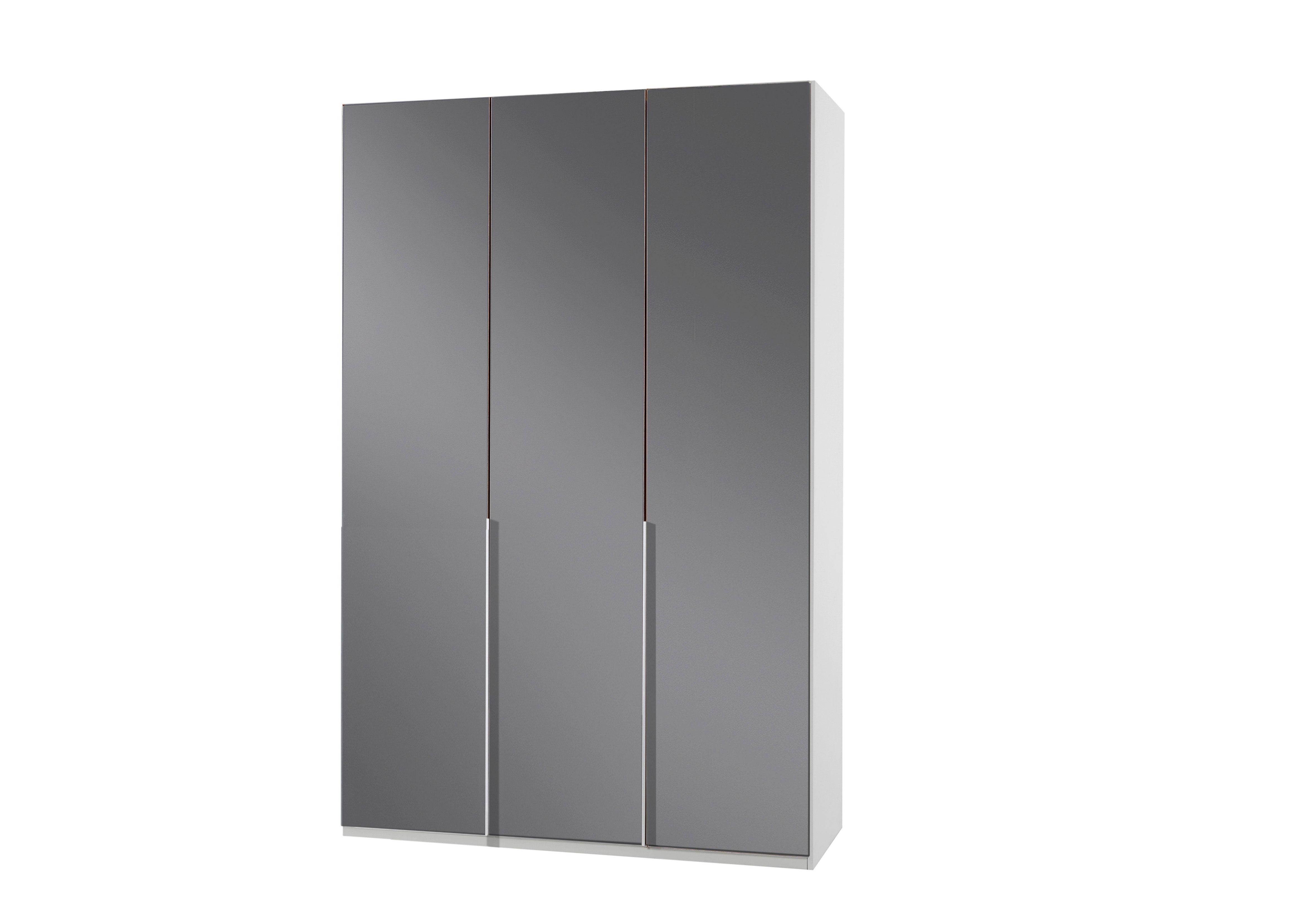 Armoire design 3 portes blanc alpin/verre gris Tony