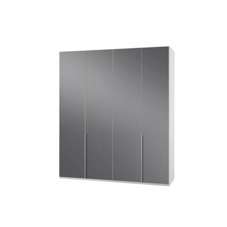 Armoire design 4 portes blanc alpin/verre gris Tony