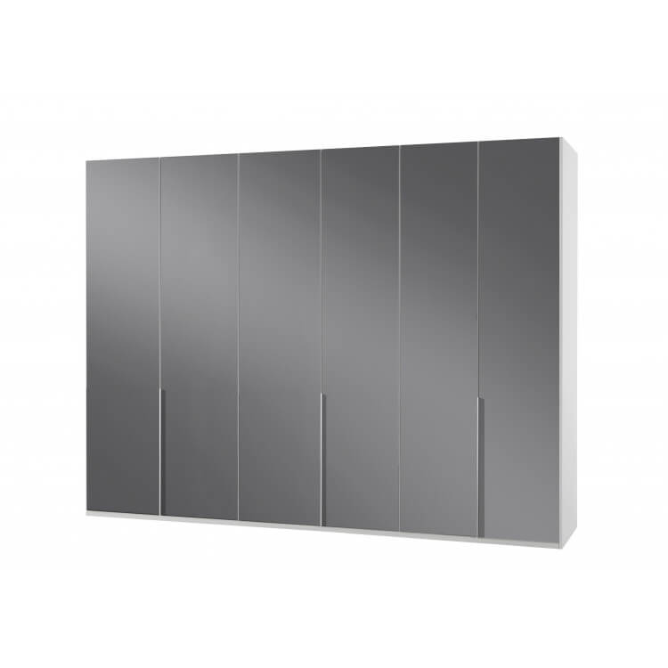 Armoire design 6 portes blanc alpin/verre gris Tony