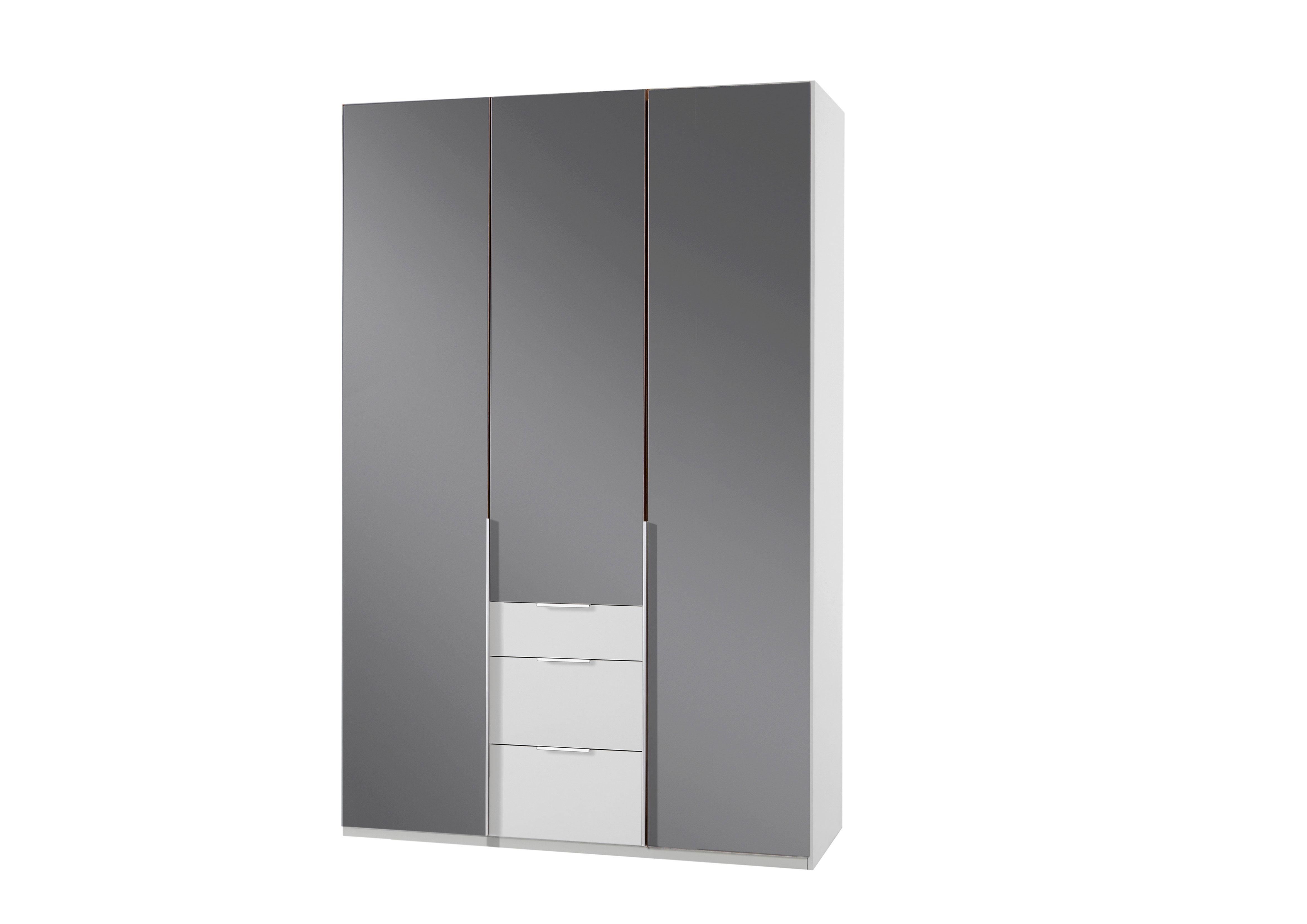 Armoire design 3 portes/3 tiroirs blanc alpin/verre gris Tony