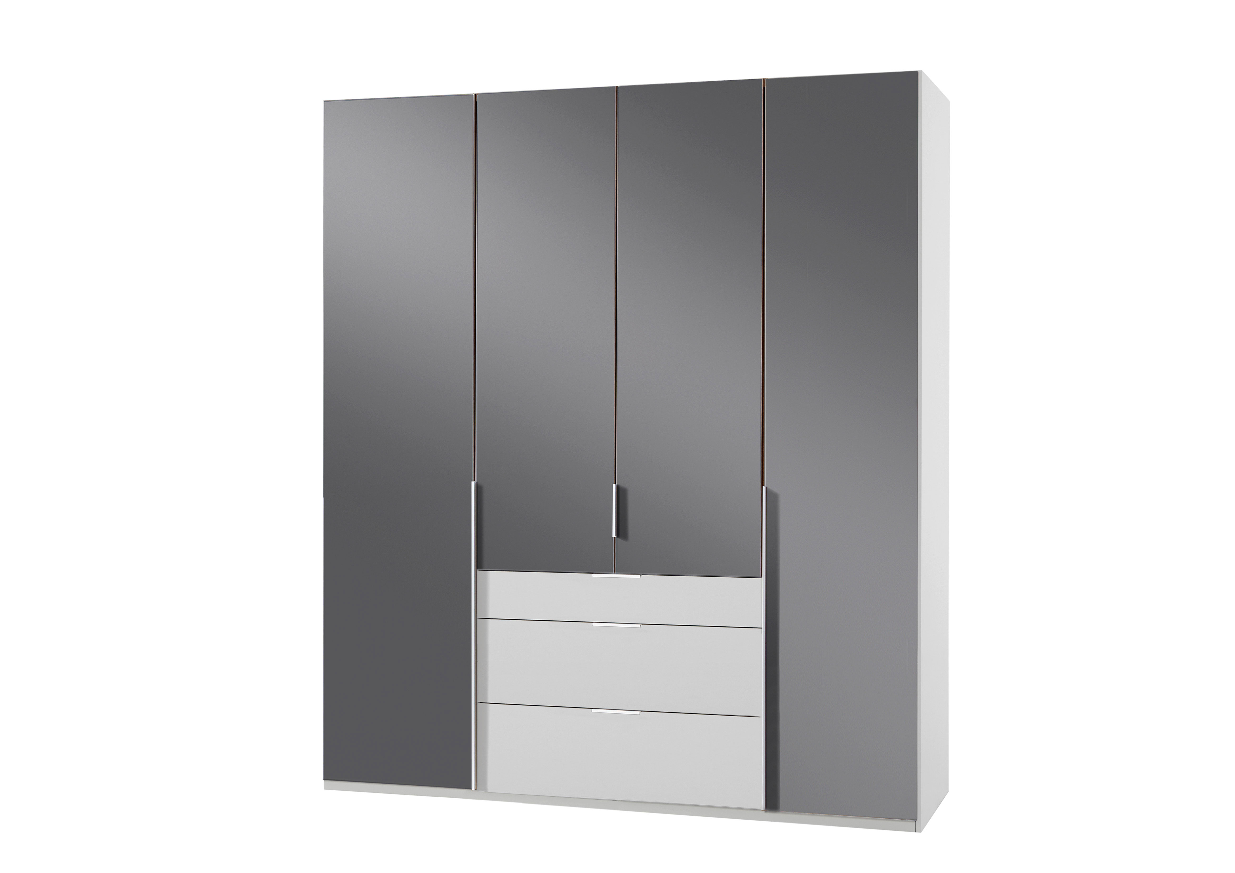 Armoire design 4 portes/3 tiroirs blanc alpin/verre gris Tony