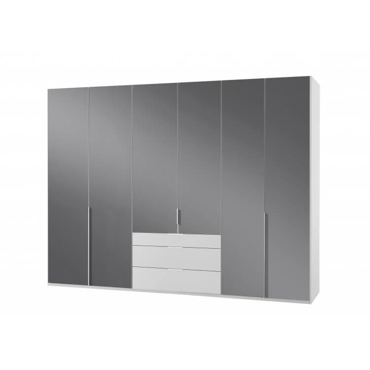 Armoire design 6 portes/3 tiroirs blanc alpin/verre gris Tony