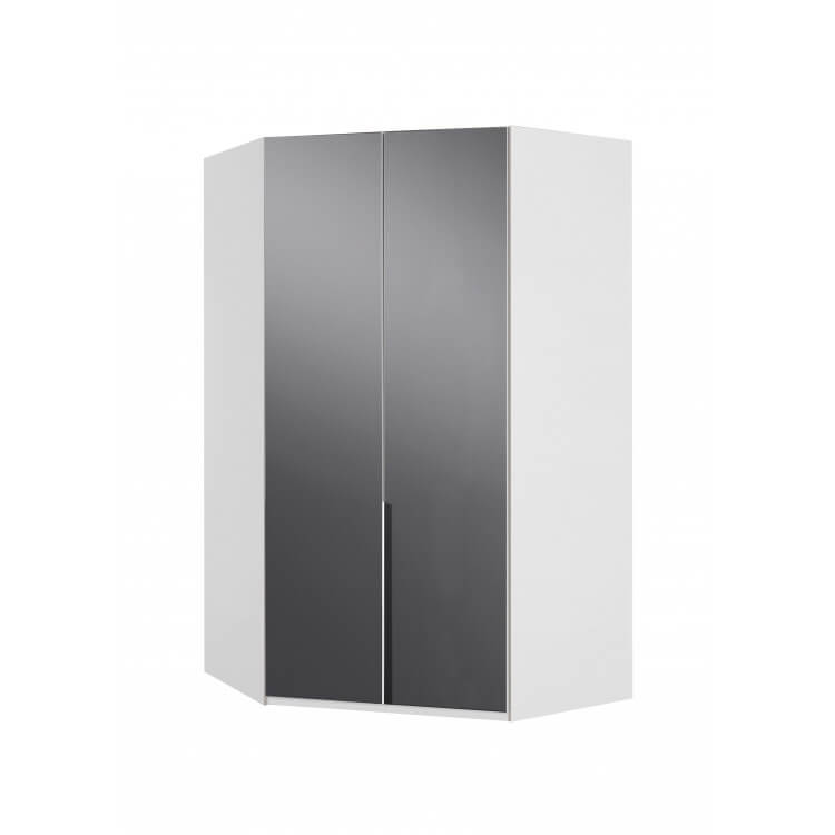 Armoire d'angle design blanc alpin/verre gris Tony