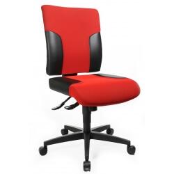 Chaise de bureau design en PU noir et tissu rouge Madere