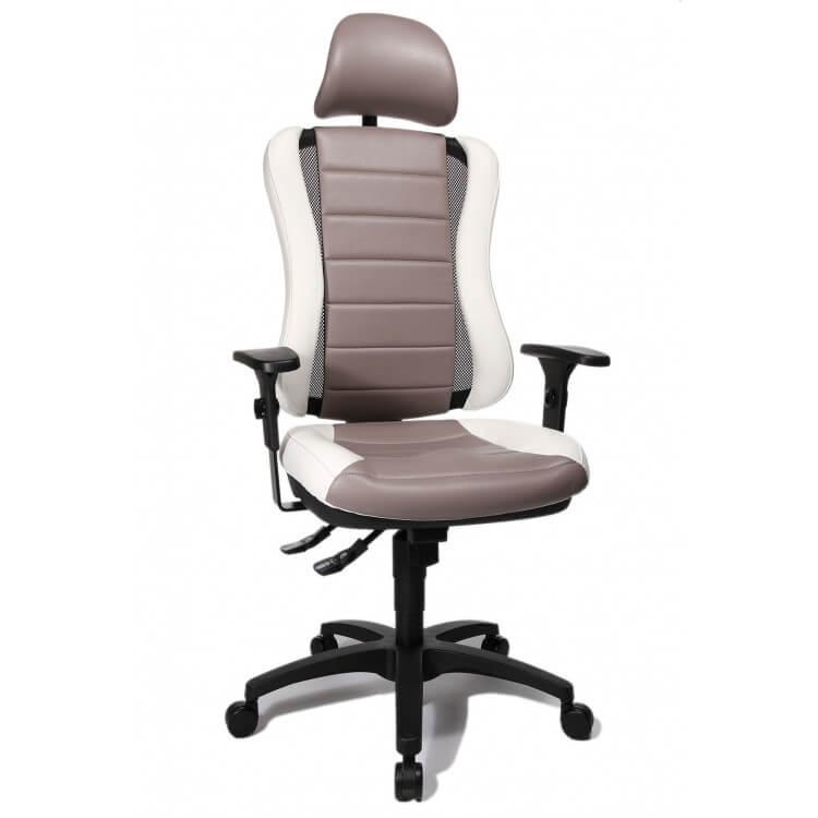 Fauteuil de bureau design en PU blanc et gris Rumba
