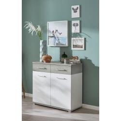 Meuble de rangement contemporain 2 portes/2 tiroirs blanc/béton brillant Curtys