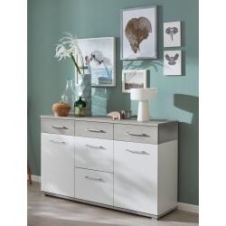 Meuble de rangement contemporain 2 portes/5 tiroirs blanc/béton brillant Curtys