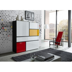 Meuble de rangement design noir/multicolore Ondine