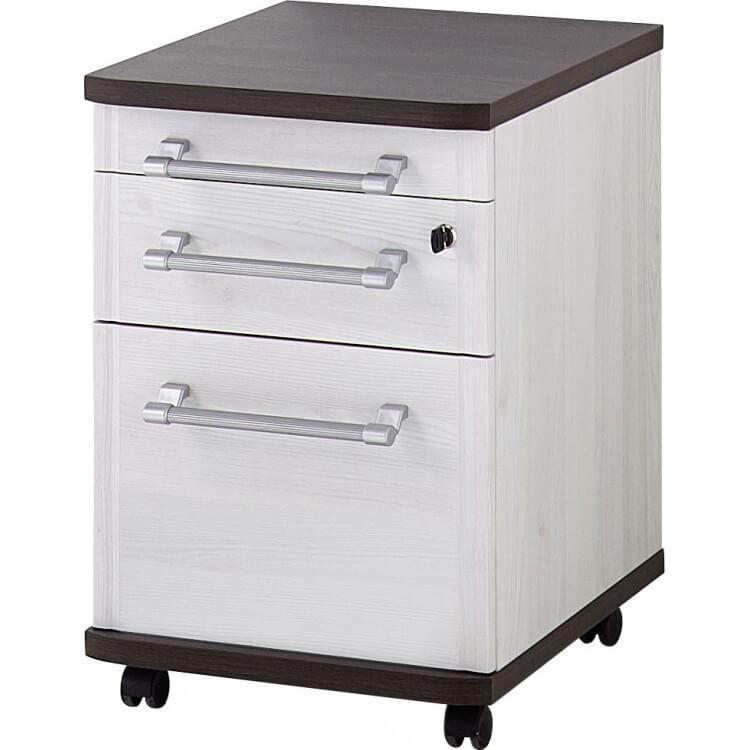 Caisson de bureau contemporain 3 tiroirs chêne havane/mélèze Atlanta