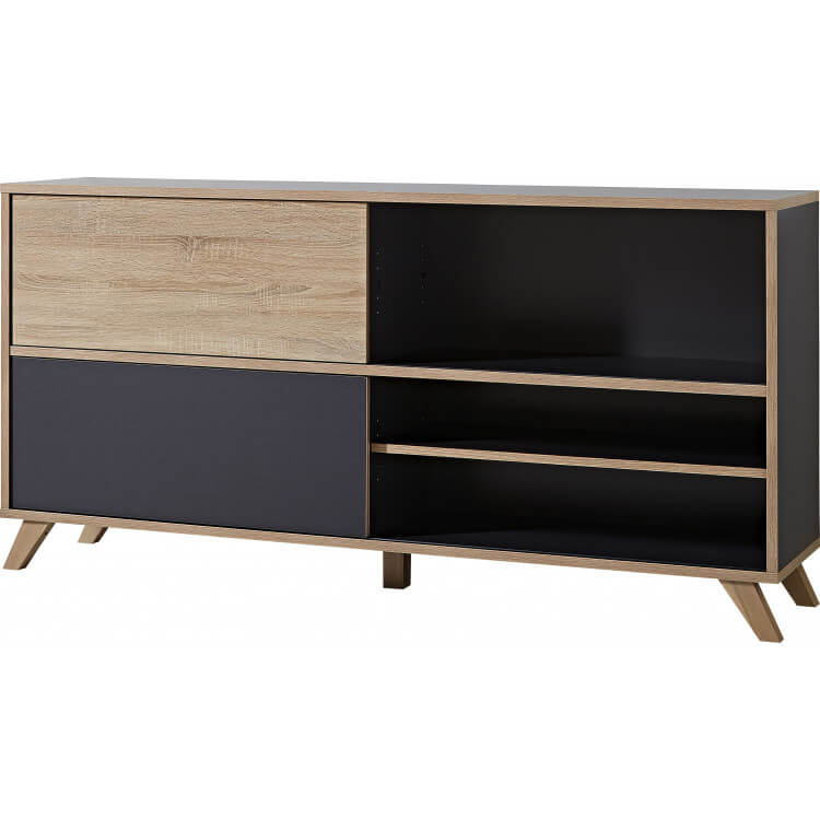 Armoire basse de bureau design 180 cm chêne sonoma/anthracite Paco