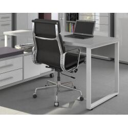 Bureau droit design gris platine/blanc Mathis