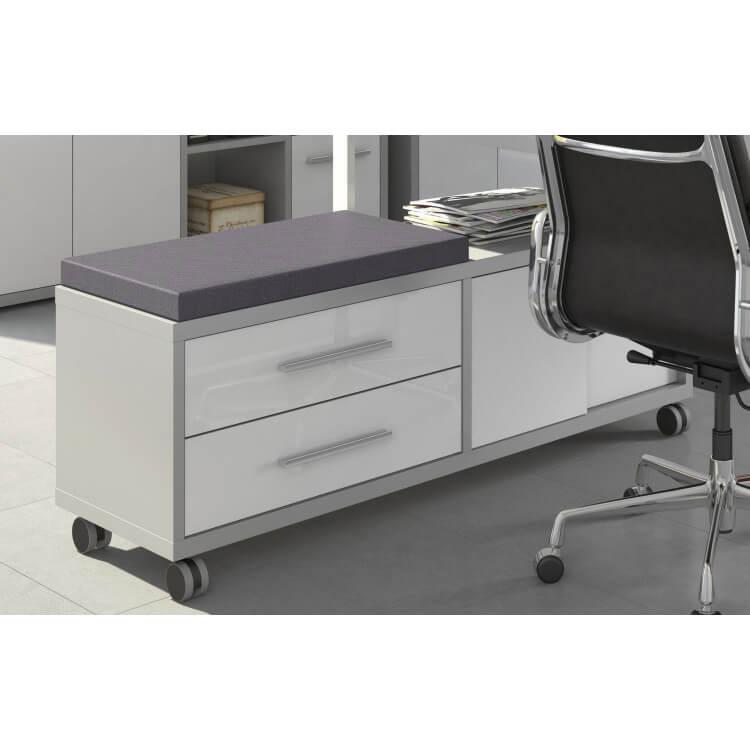 Caisson de bureau design gris platine/verre blanc Mathis