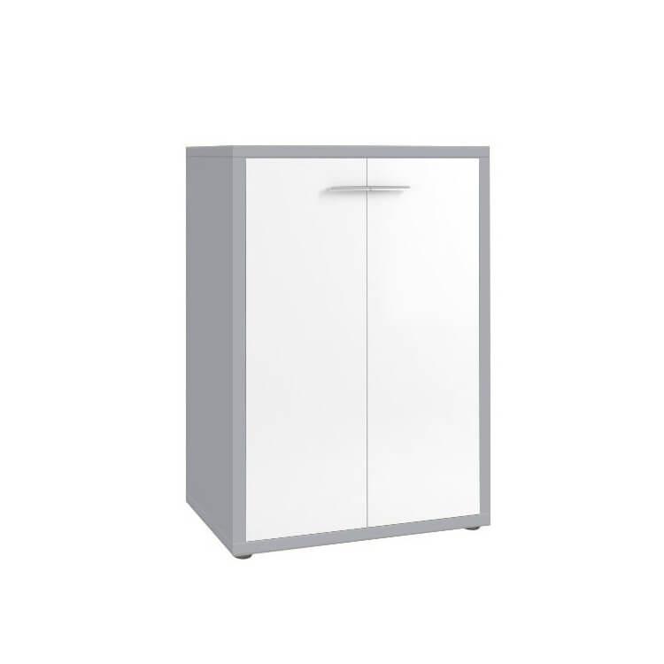 Armoire basse de bureau design gris platine/verre blanc Mathis