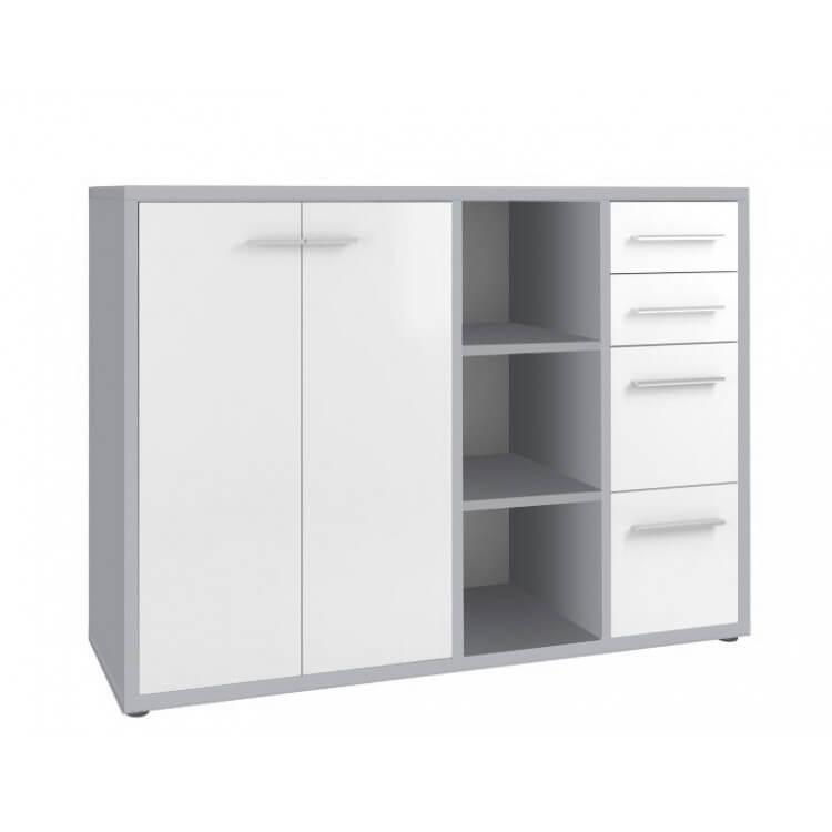 Armoire basse de bureau design gris platine/verre blanc Mathis I