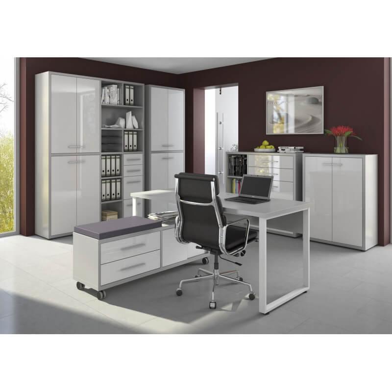 armoire basse de bureau design gris platine verre blanc mathis i matelpro. Black Bedroom Furniture Sets. Home Design Ideas