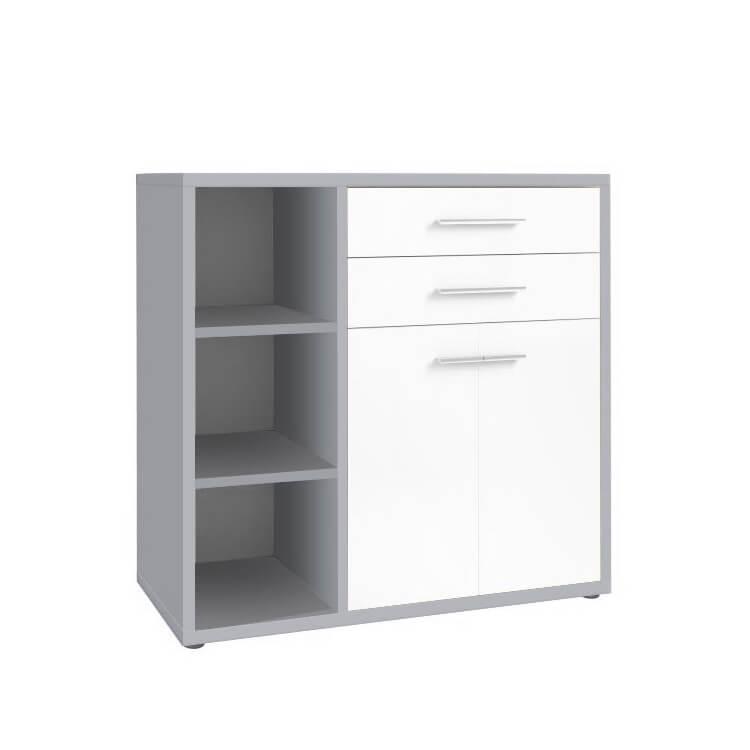 Armoire basse de bureau design gris platine/verre blanc Mathis II