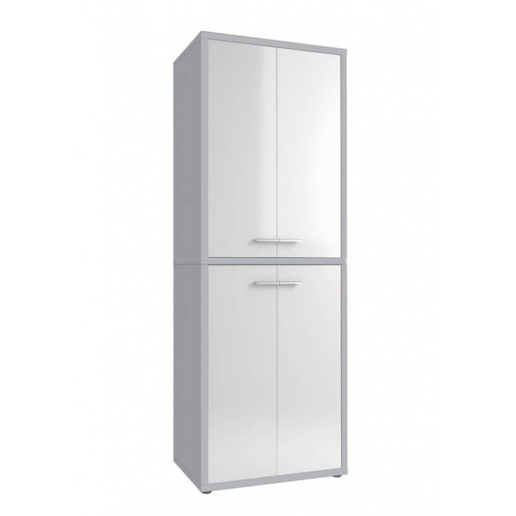 Armoire haute de bureau design gris platine/verre blanc Mathis