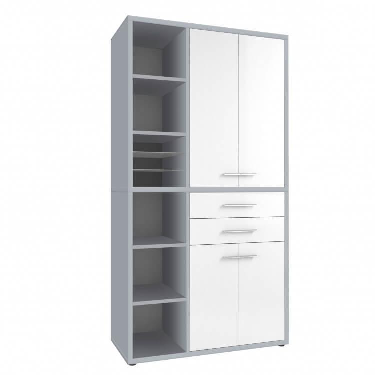 Armoire haute de bureau design gris platine/verre blanc Mathis I