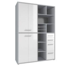 Armoire haute de bureau design gris platine/verre blanc Mathis II