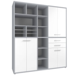 Armoire haute de bureau design gris platine/verre blanc Mathis III