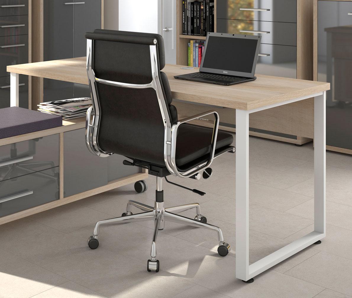 Bureau droit design chêne naturel/verre gris Damien