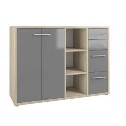 Armoire basse de bureau design chêne naturel/verre gris Damien I