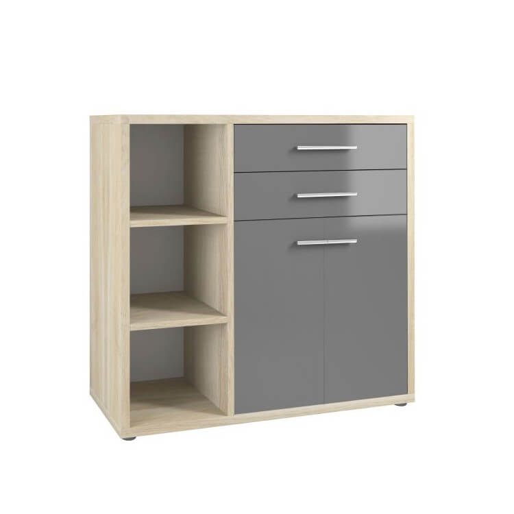 Armoire basse de bureau design chêne naturel/verre gris Damien II