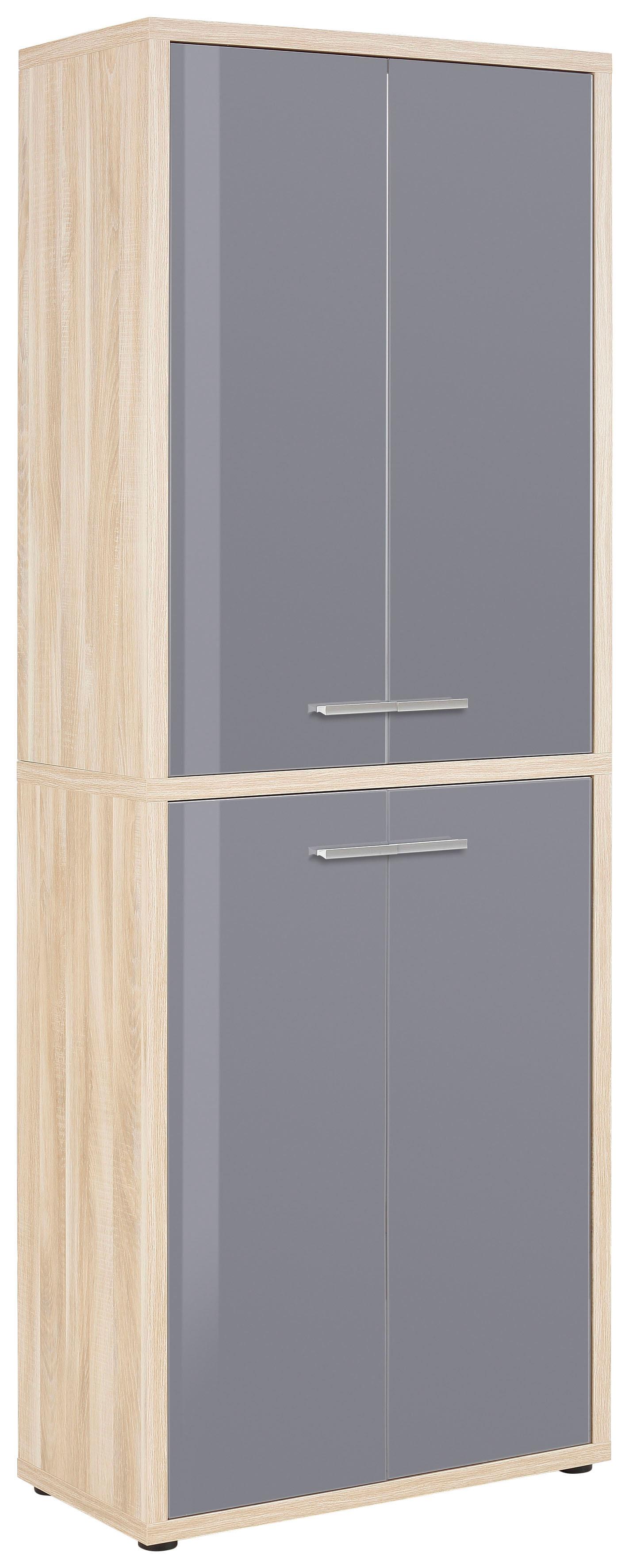 Armoire haute de bureau design chêne naturel/verre gris Damien