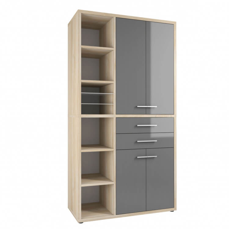 Armoire haute de bureau design chêne naturel/verre gris Damien I