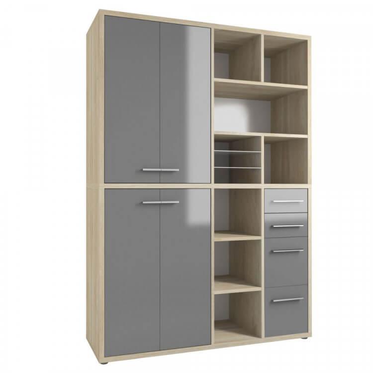Armoire haute de bureau design chêne naturel/verre gris Damien II