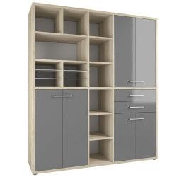 Armoire haute de bureau design chêne naturel/verre gris Damien III