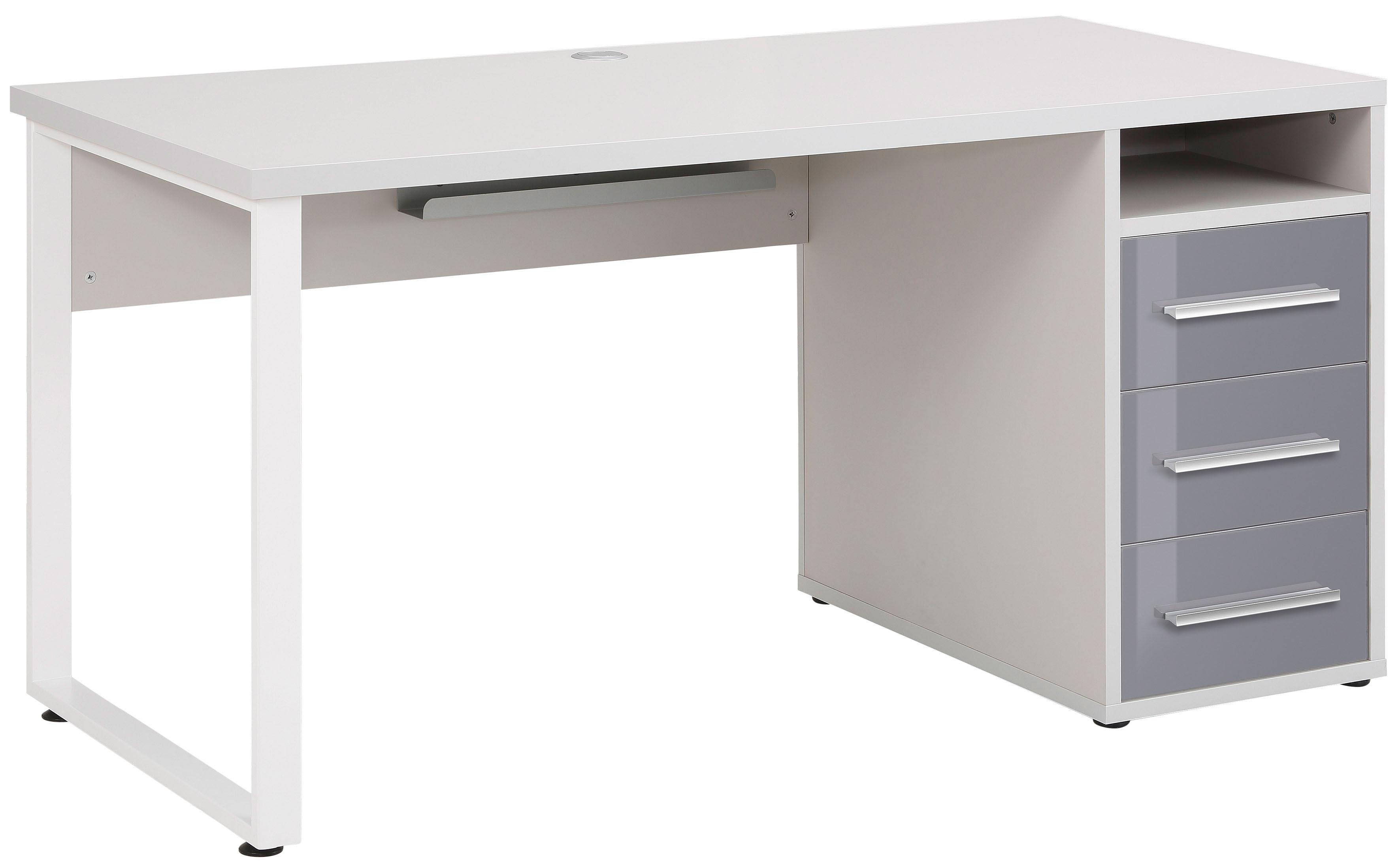 Bureau droit design gris platine/verre gris Esteban I
