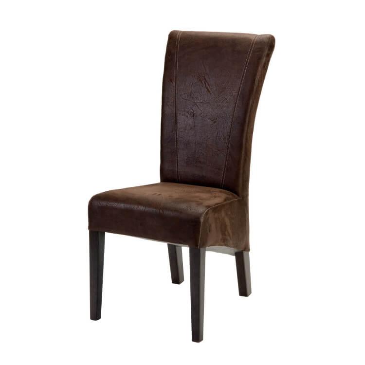 Chaise de salle à manger contemporaine en tissu marron (lot de 2) Elégance