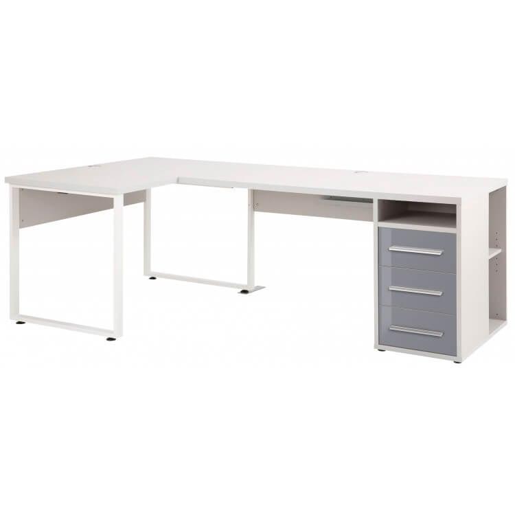 Bureau d'angle design gris platine/verre gris Esteban