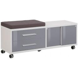 Caisson de bureau design gris platine/verre gris Esteban