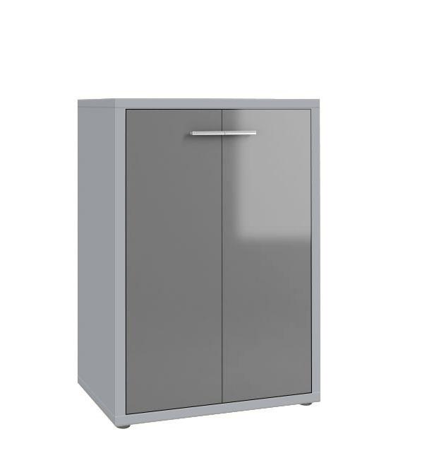 Armoire basse de bureau design gris platine/verre gris Esteban