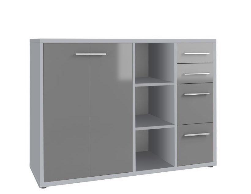 Armoire basse de bureau design gris platine/verre gris Esteban I