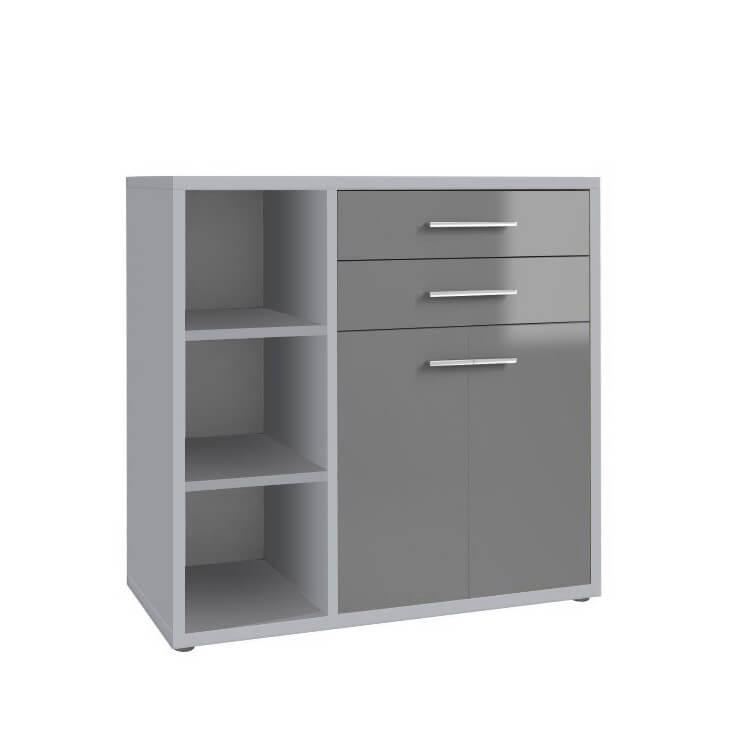 Armoire basse de bureau design gris platine/verre gris Esteban II