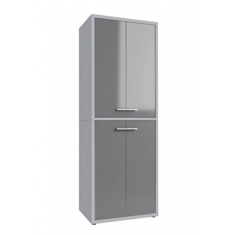 Armoire haute de bureau design gris platine/verre gris Esteban