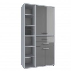 Armoire haute de bureau design gris platine/verre gris Esteban I