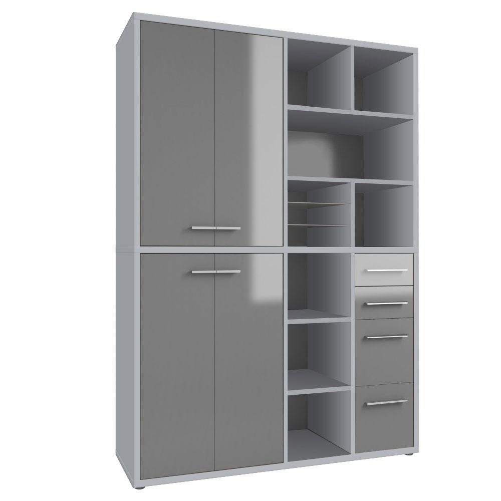 Armoire haute de bureau design gris platine/verre gris Esteban II