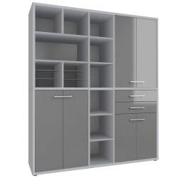 Armoire haute de bureau design gris platine/verre gris Esteban III