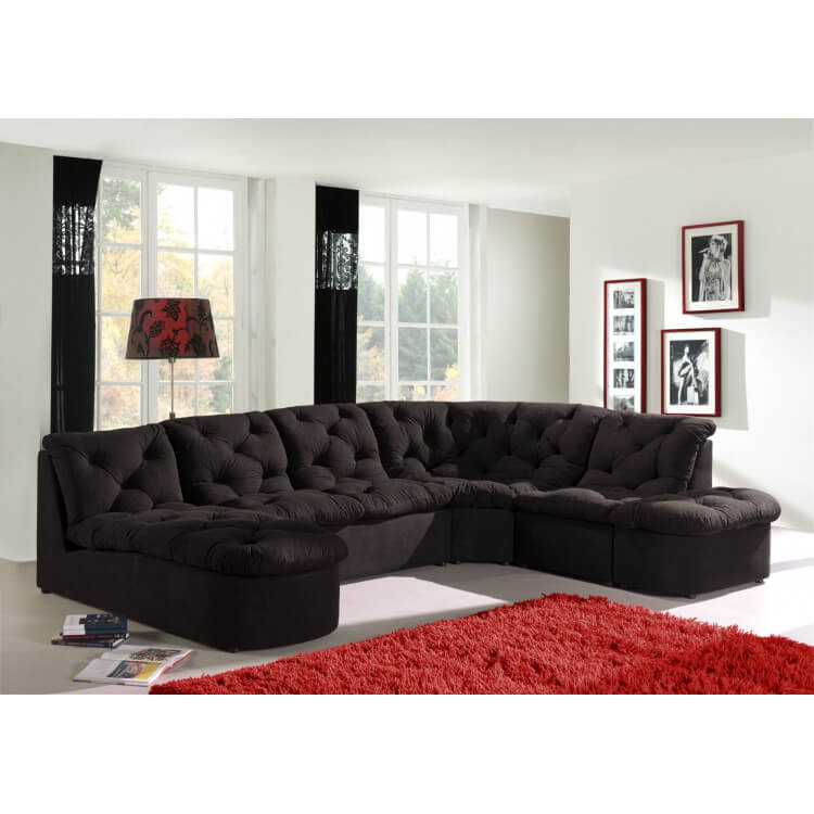 Canapé d'angle modulable CORDOBA-Noir