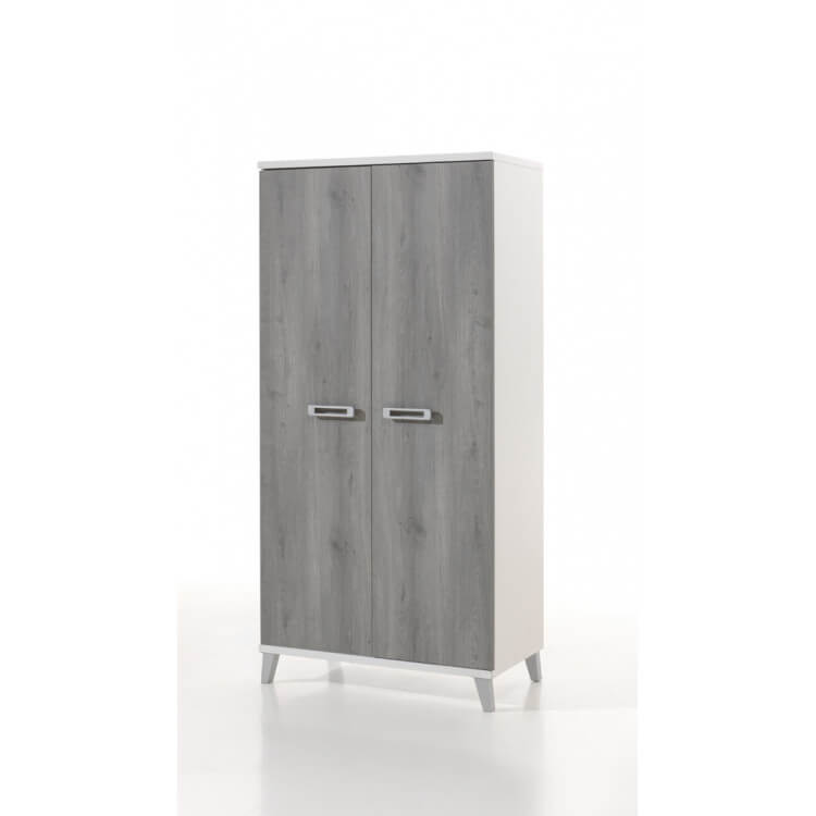 Armoire enfant contemporaine 2 portes blanche et grise Betty