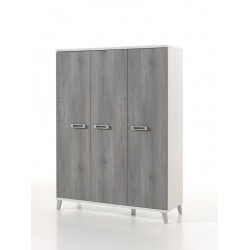 Armoire enfant contemporaine 3 portes blanche et grise Betty