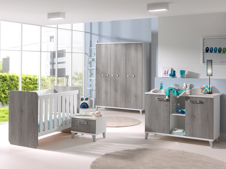 Chambre bébé contemporaine blanche et grise Betty