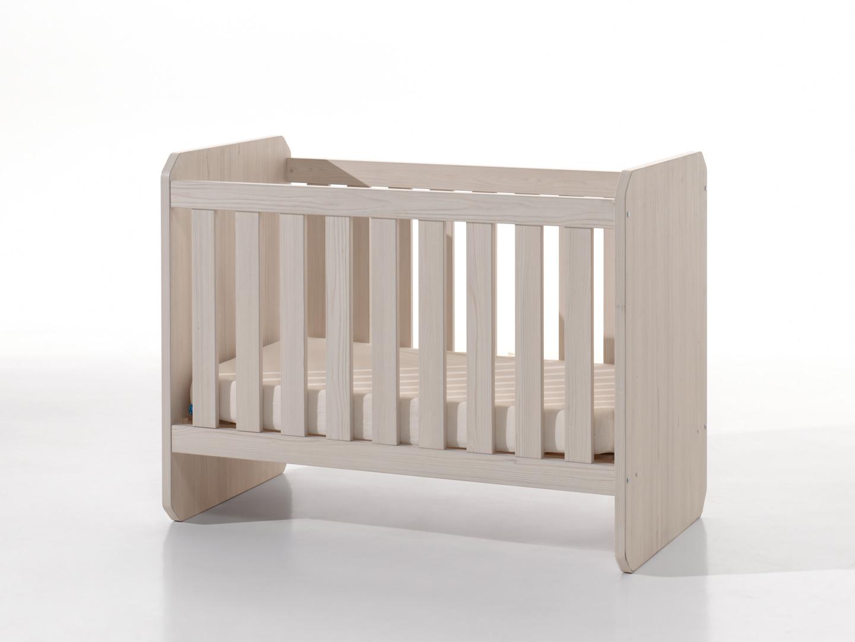 Lit bébé à barreaux évolutif contemporain frêne/vert Verone