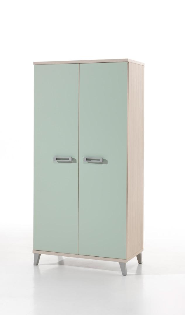 Armoire enfant contemporaine 2 portes frêne/vert Verone
