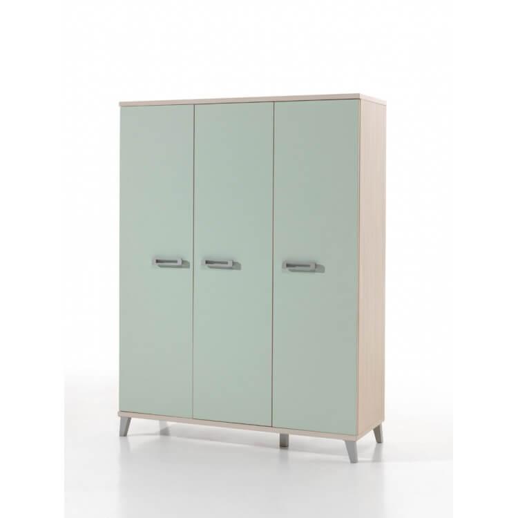 Armoire enfant contemporaine 3 portes frêne/vert Verone